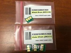 4 Drum Chip (BCMY) for Konica Minolta Bizhub C220, C280, C360 Printer Refill