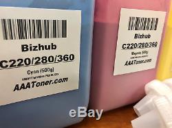 (600g/500g) 4 Toner Refill for Konica Minolta Bizhub C220, C280, C360 TN216