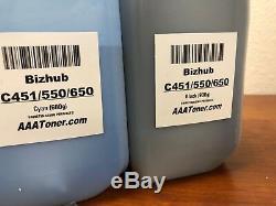 (900g/600g) 4 Toner Refill for Konica Minolta Bizhub C451, C550, C650 + 4 Chip