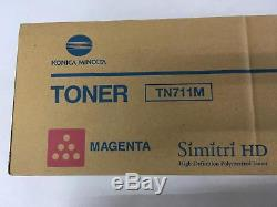 LOT of 6 Tonesr OEM Genuine Konica Minolta BizHub C654 C754 TN711K TN711Y TN711M