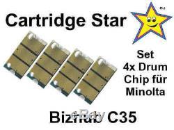 Set 4x Drum Trommel Reset Chip für Konica Minolta Bizhub C35