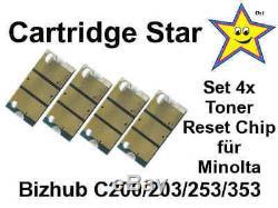 Set 4x Toner Reset Chip für Konica Minolta Bizhub C200 C203 C253 C353