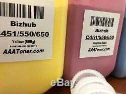 (900g / 600g) 4 Recharge De Toner Pour Konica Minolta Bizhub C451, C550, C650 + 4 Chip