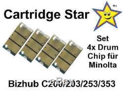 Set 4x Tambour Trommel Réinitialiser Chip Konica Minolta Bizhub Für C200 C203 C253 C353
